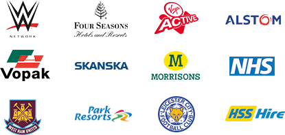 WW Network, Four Seasons Hotels & Resports, Virgin Active, Alstom, West Ham United, HSS Hire, Vopak, Skanska, Morrisons, NHS, Park Resorts, Leicester FC.